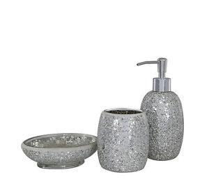Image Is Loading Silver Sparkle Glass Mosaic Bathroom Set Soap Dispenser