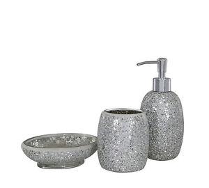 Image Is Loading Silver Sparkle Gl Mosaic Bathroom Set Soap Dispenser