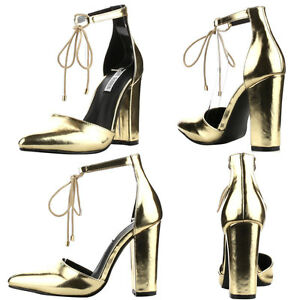 New Gold Pointy Toe Lace Up Ankle Strap