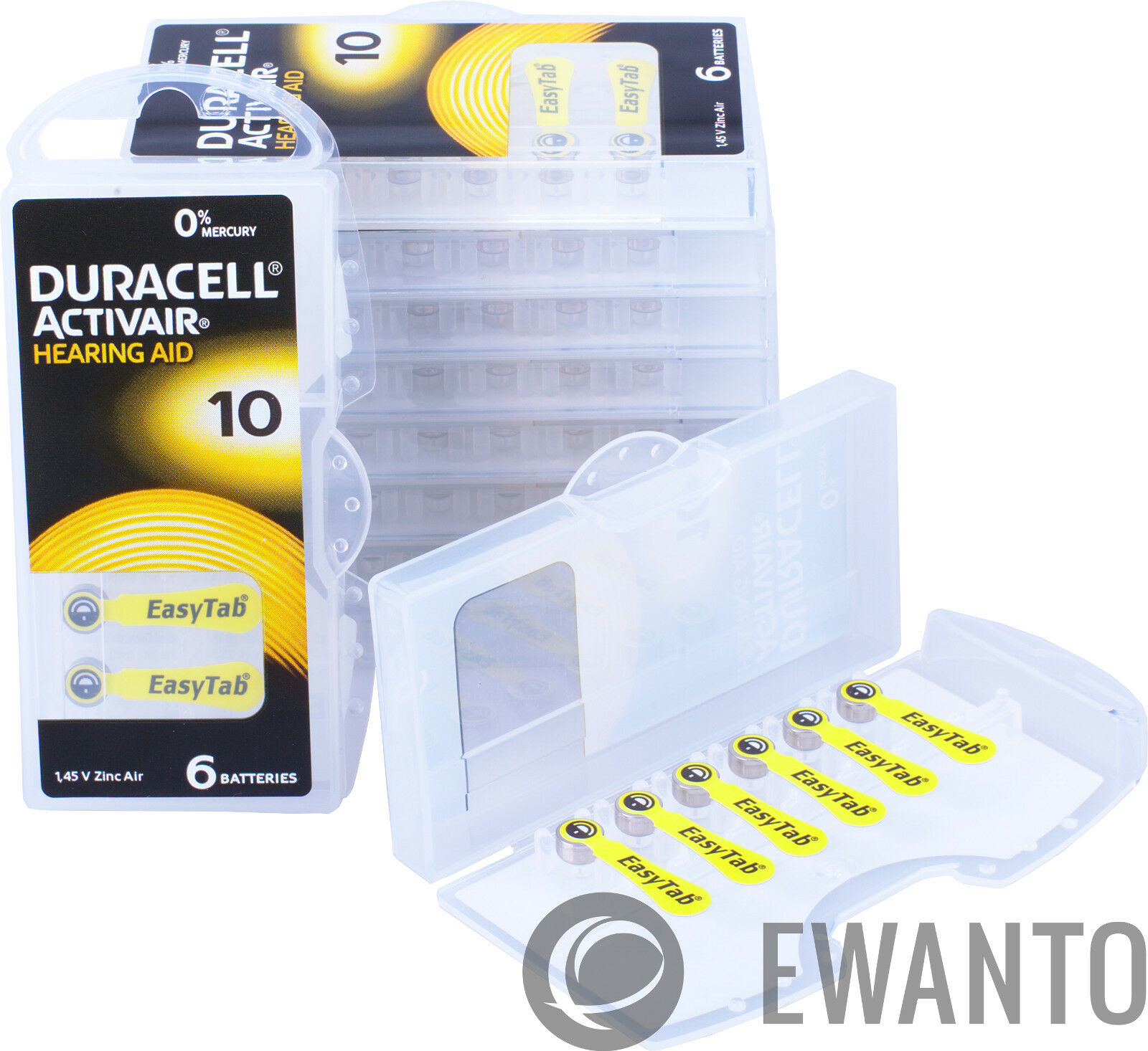300 x Duracell Activair Hearing Aid Batteries Size 10 Hearing Aid 6118 50 Blister