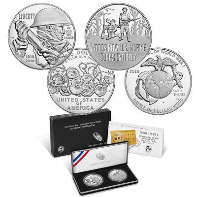 World War I Centennial 2018 Silver Dollar and Army Medal Set