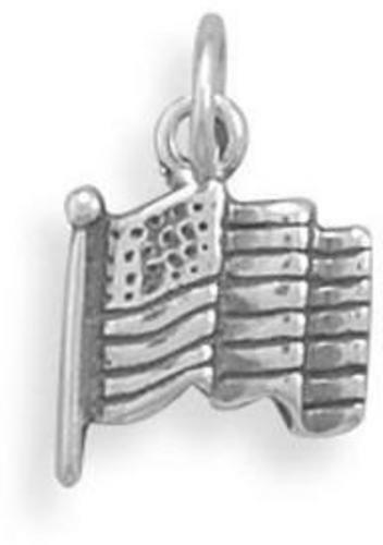 petite oxydé Drapeau Américain Charme Argent Sterling .925 11.5x10.5mm C