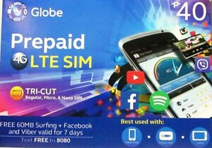 Details about Globe LTE Prepaid Triple Cut SIM Card With Free 60MB Surfing