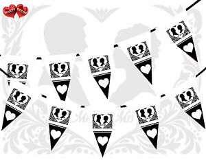 Black-and-White-MR-amp-MRS-bunting-banner-15-flags-with-letters-by-PARTY-DECOR
