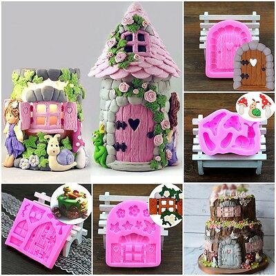 3D House Door DIY Silicone Fondant Mould Cake Decorations Chocolate Cutter Mold