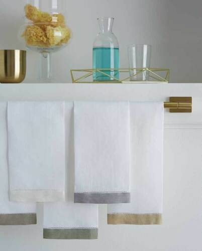 Set of 4 Sferra Filo Guest Towel WHITE//EMERALD