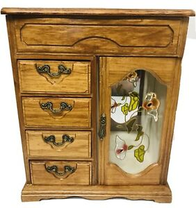 Vintage-Wood-Jewelry-Case-With-4-Drawers-Open-Top-And-Glass-Door-And-Trinket-Box