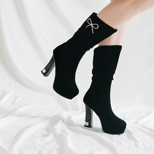 Details about  /Womens Block High Heel Platform Ladies Mid Calf Booties Wedding Gothic Shoes D