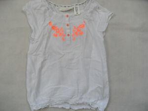 promo code 1f8d1 f80b1 Details zu H&M schöne Kurzarm-Tunika weiß mit Stickerei in orange Gr. 146  TOP BI519
