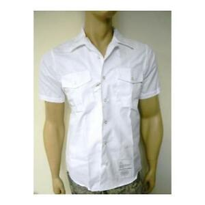 Us navy genuine issue white tropical button down shirt for White military dress shirt