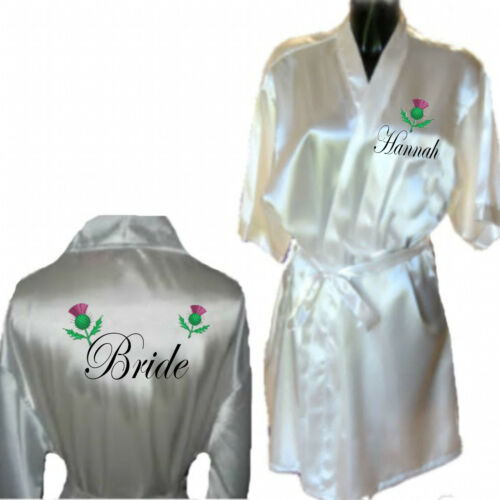 Dressing Gown Gift for Bride Celtic Wedding Personalised Scottish Thistle Robe