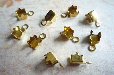 10 Brass Rhinestone Chain Connectors Crimps 3.5mm Size for 2.5mm Size Chain