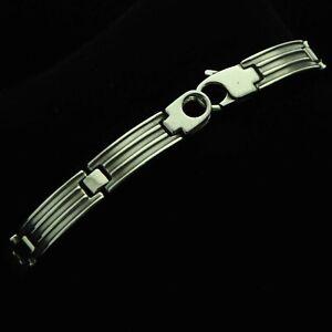Semi-Matte-Heavy-amp-Chunky-Solid-925-Sterling-Silver-Panel-Bracelet