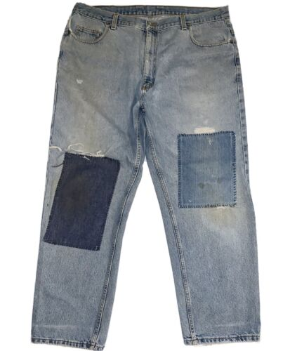 Patched Denim Ripped Repaired Jeans 40X30 Wear Thr