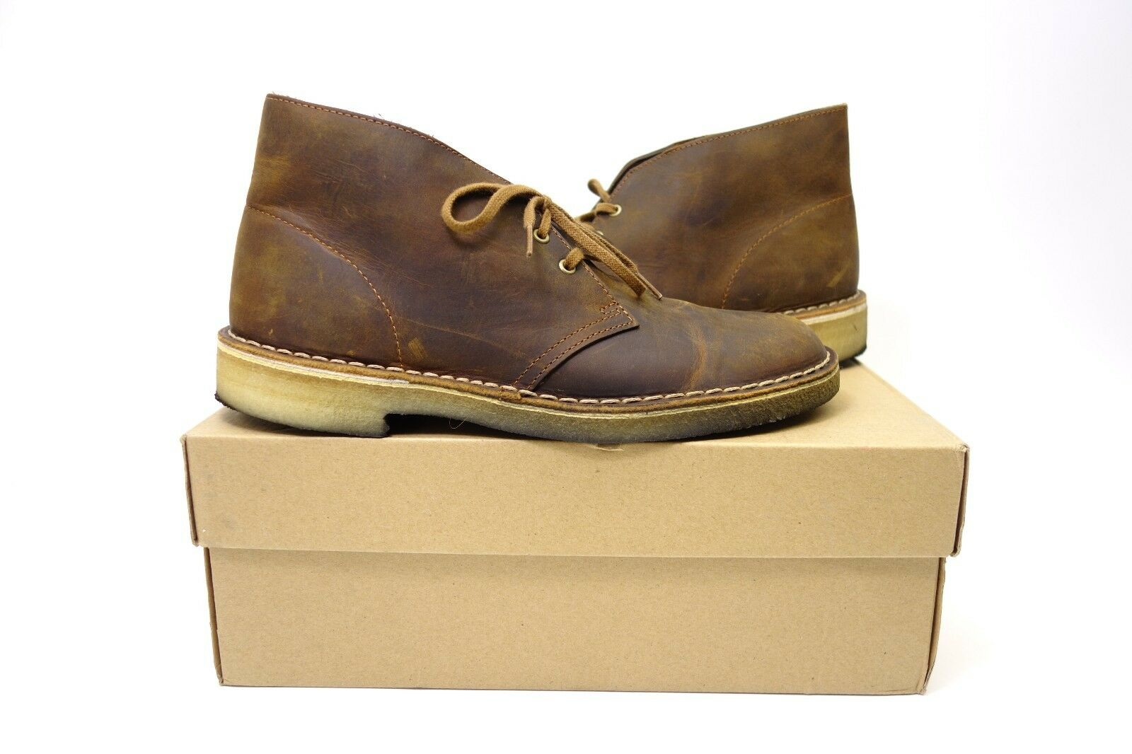 Pre-Owned Clarks Originals Uomo Brown Beeswax Jaune Miel Casual Desert Boots 12