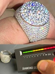 Men's Solid 925 Silver MOISSANITE Pass Diamond Tester Cluster Pinky RING Hip Hop