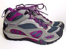 "MERRELL WOMEN'S 7 ""AZURA MID"" GRAY/PURPLE WATERPROOF HIKING BOOTS $130"
