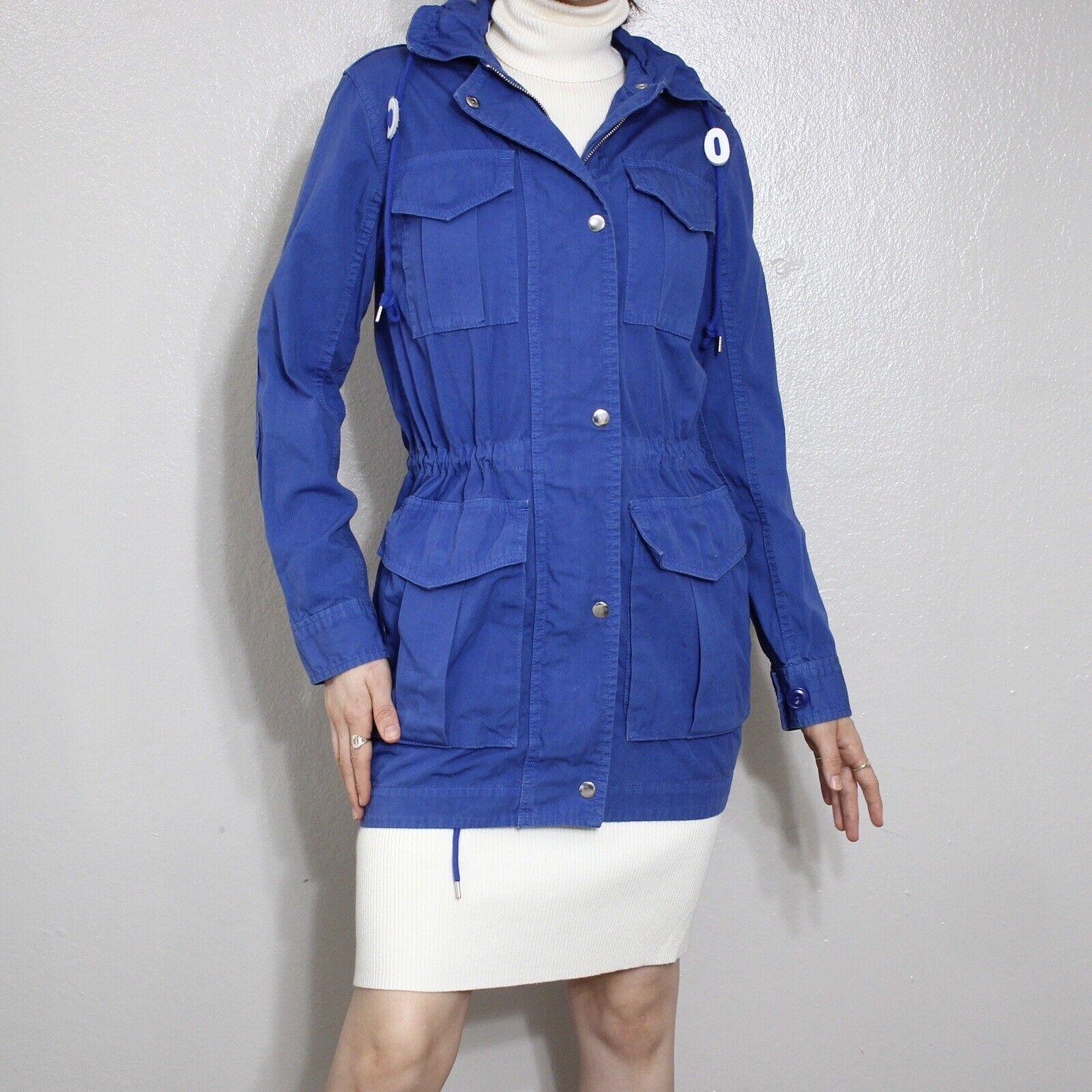 J.Crew Trench Cargo Utility Jacket Womens XXXS Blue 100% Cotton Packaway Hoodie