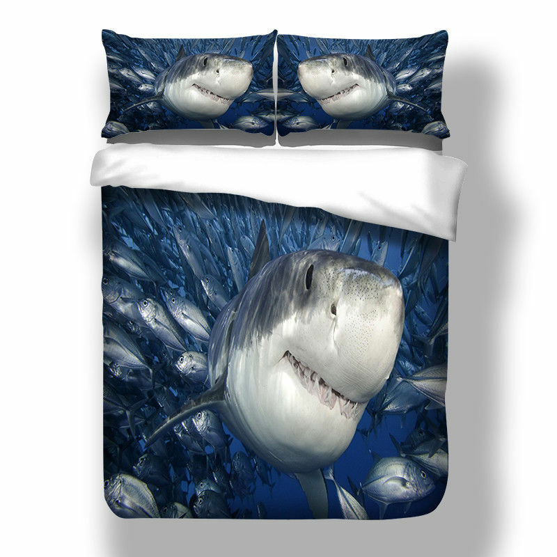 Sea Shark Twin Queen King Size Bed Duvet Quilt Cover Set Pillow Case Whale New