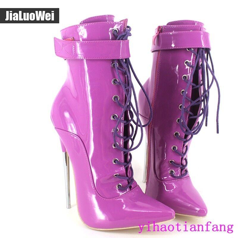 New Fashion Sexy 18cm Metal Metal Metal Heel Extreme High Heel Pointed Toe Lacing Women 2019 4cdde2