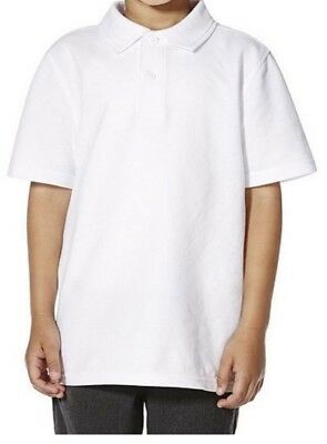 Girls School 5 Pack Teflon® Polo Shirts White and BLUE Age 3 to 16 Uniform