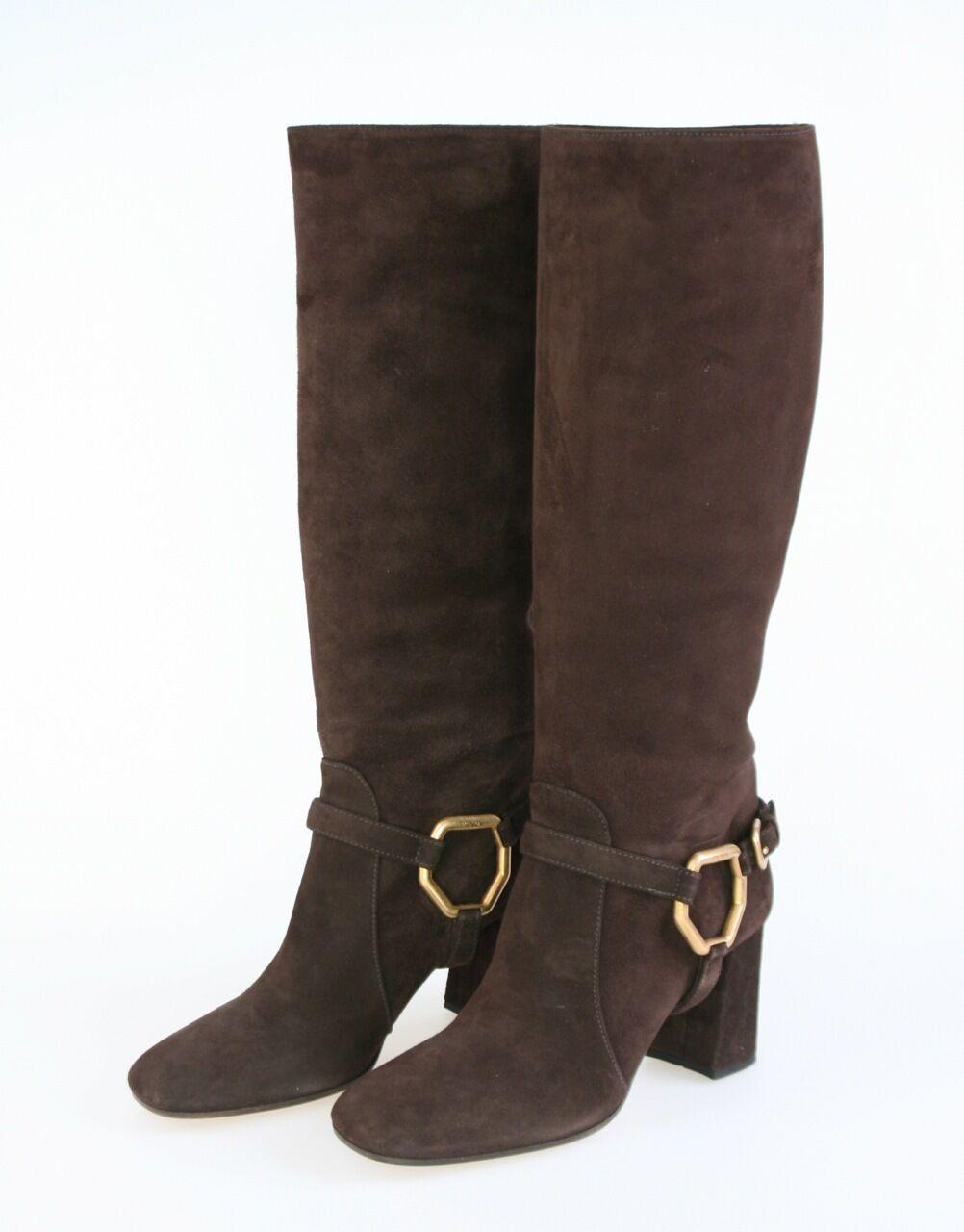 Prada de lujo botas zapatos 1w415d precisamente madera marrón nuevo New 38,5 39