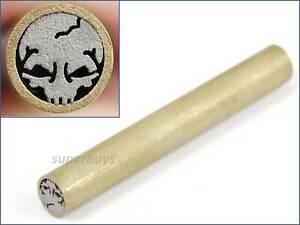 Skull-Shaped-Knife-Handle-Mosaic-Brooch-45mm-x-6mm-Rivet-Brass-Steel-Tube-Pin