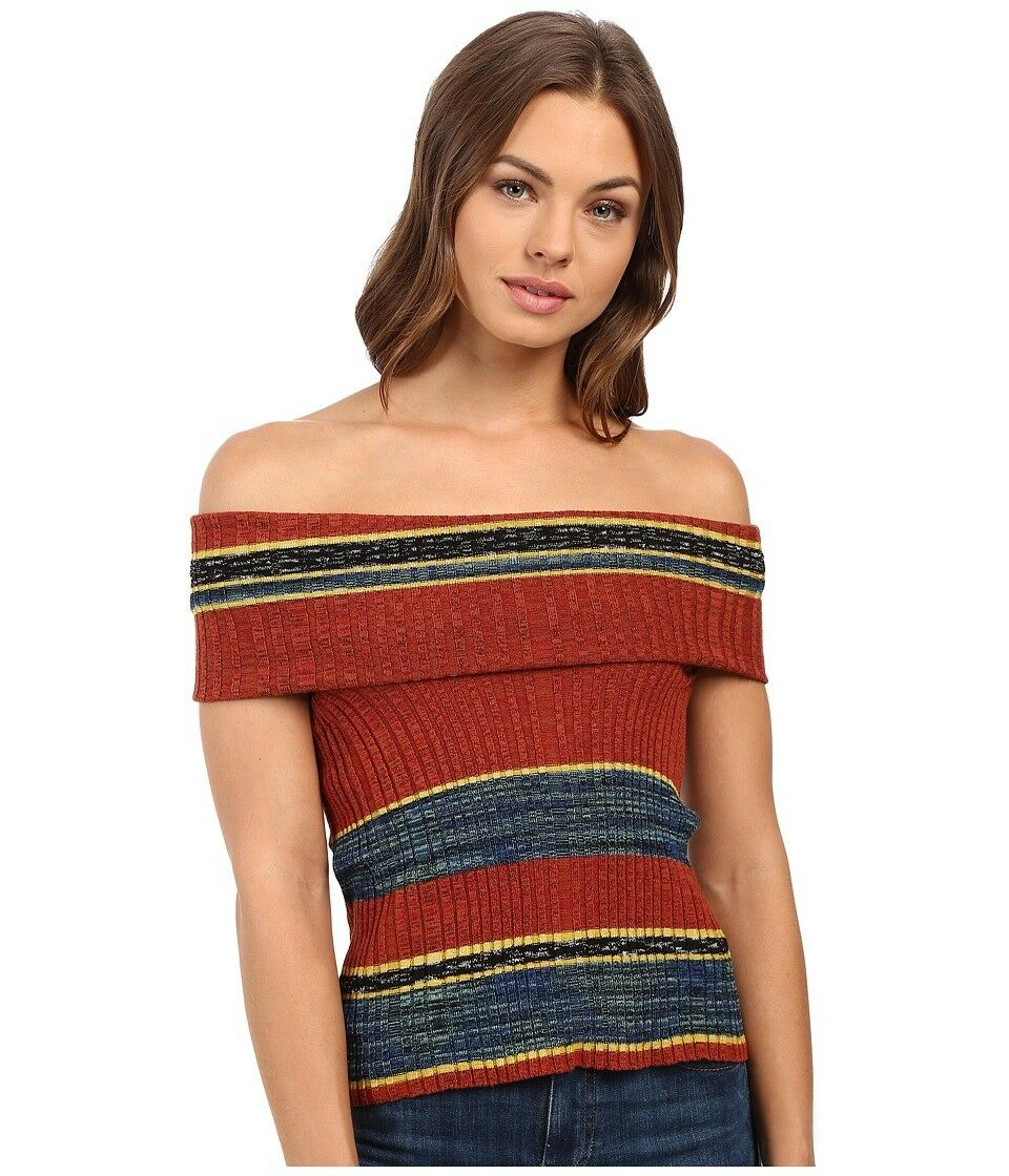 FREE PEOPLE OB511697 Carly Cowl Off the Shoulder Stripe Sweater Top ( S )