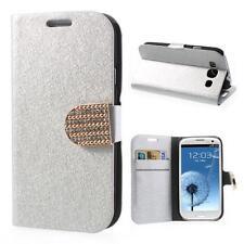 Schutz Tasche Flip Case Cover Hülle f Samsung Galaxy S3 i9300 STRASS SILBER SCHI