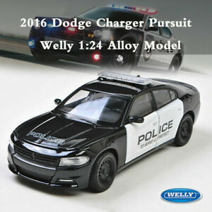 WELLY-1-24-2016-Dodge-Charger-R-T-Pursuit-Police-Vehicle-Diecast-Metal-Model-Car