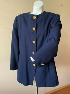 Christian-Dior-Womens-100-Wool-Blazer-Jacket-16-Vtg-Blue-w-Gold-Buttons