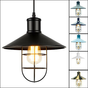 Retro-Pendant-Light-Vintage-Industrial-Ceiling-Lights-Metal-Cage-Lamp-Shade-E27