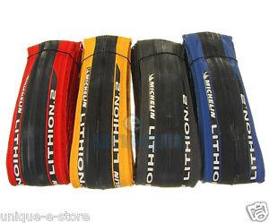 Michelin-Lithion-2-Road-Bike-Folding-Race-Tire-700c-x-23c-Red-blue-yellow-black