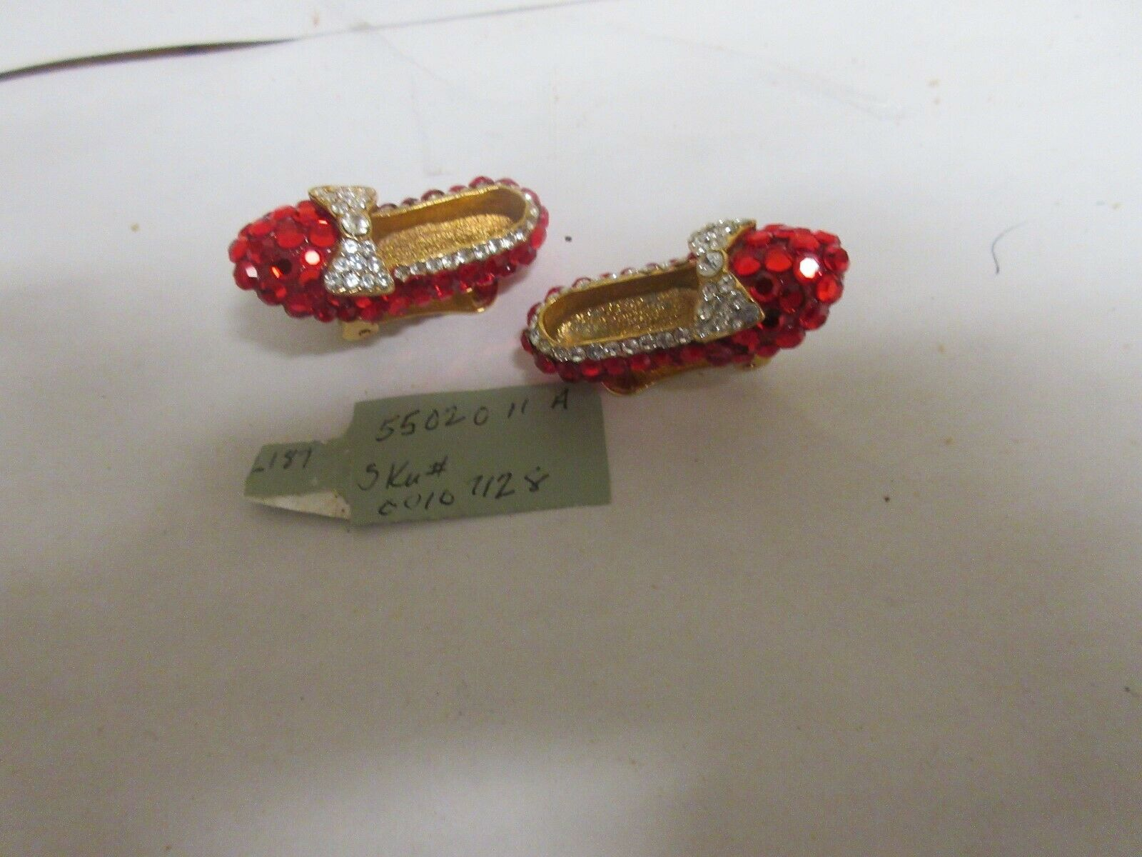 Costume Jewelry , Vintage , Earring , Red Shoes/Stones