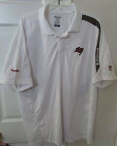 cb2f28cf Details about NFL Tampa Bay Buccaneers Golf Polo Shirt by Reebok XL White  EUC