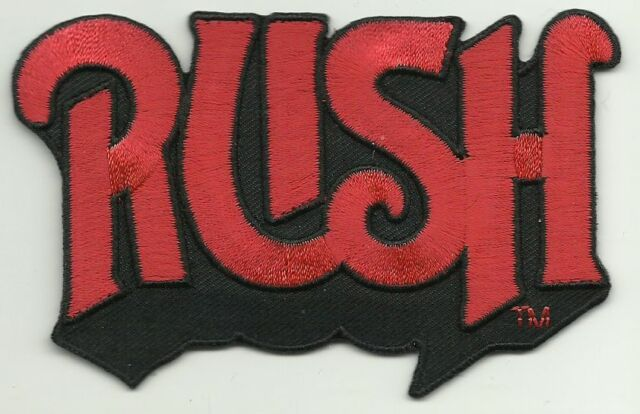 RUSH red logo 2014 shaped - EMBROIDERED IRON/SEW ON PATCH import