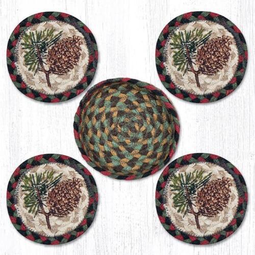 Chicha /& pin Sprig 100/% naturel tressé jute Coaster Set of 4 in environ 10.16 cm jute panier