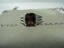 AUTHENTIC DAVID YURMAN 10X8MM GARNET PETIT WHEATON PAVE DIAMOND RING SIZE 6
