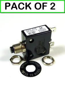 Philmore 3 Amp PB Manual Reset Thermal Circuit Breaker 50VDC 2-PACK 250VAC