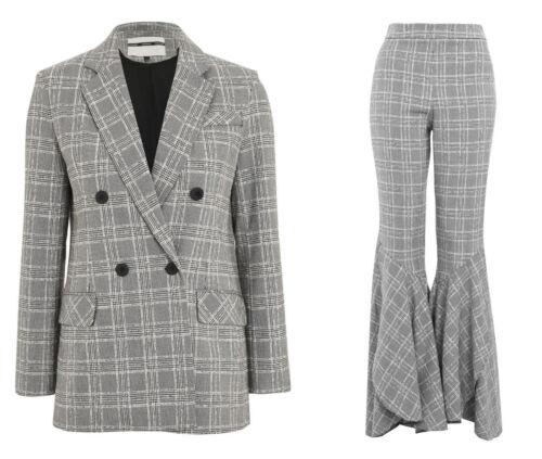 à évasésGrey 16 pantalons 14 texturé et carreaux Uk SuitPantalon super 12 Topshop DYE9IWbeH2