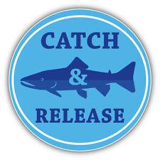 FIshing Label Catch & Release Car Bumper Sticker Decal 5'' x 5''