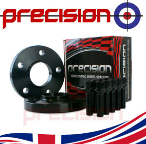 1 Pair of Black Hubcentric 20mm Spacers with Bolts Nuts for Audi A4 B8/B9 Alloys
