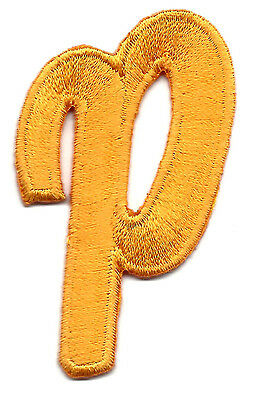 "Iron On Embroidered Applique SCRIPT LETTER-Golden Yellow Script  2/"" Letter /""U/"""