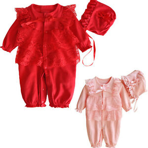 35720d211283 Newborn Infant Baby Kid Girl Lace Romper Jumpsuit+Hat Clothes 2PCS ...