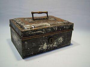 Vintage Antique Decorative Collectible Tin Lock Box