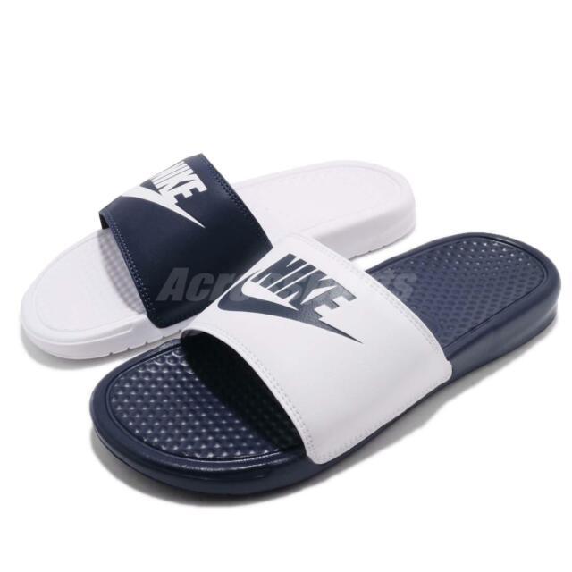 cada Rosa Vicio  Nike Benassi JDI Mismatch White Midnight Navy Blue Men Sandals Slides  818736-410 for sale online