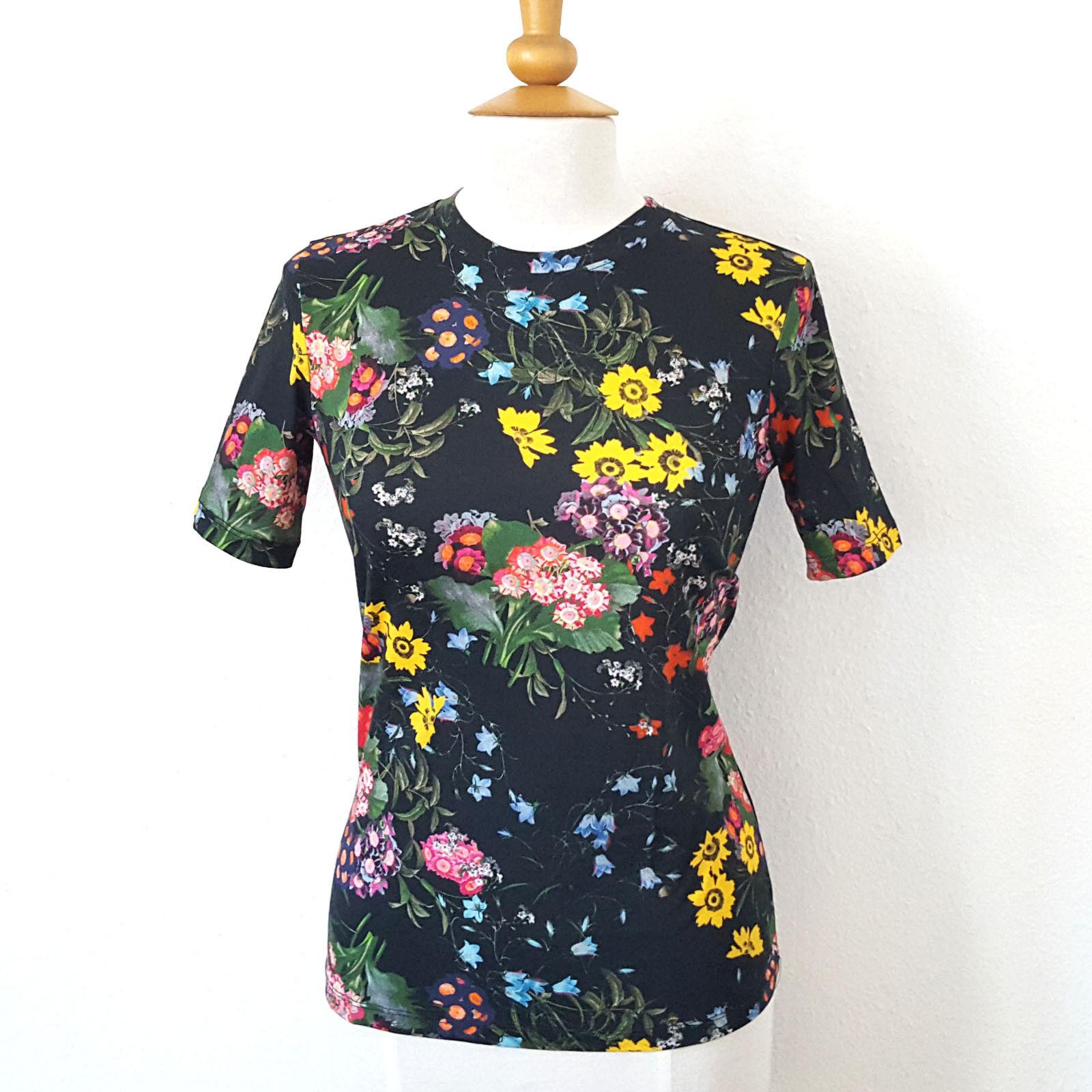 H&M X Erdem T-Shirt Conscious Bio Baumwolle floral gemustert schwarz XS Blause