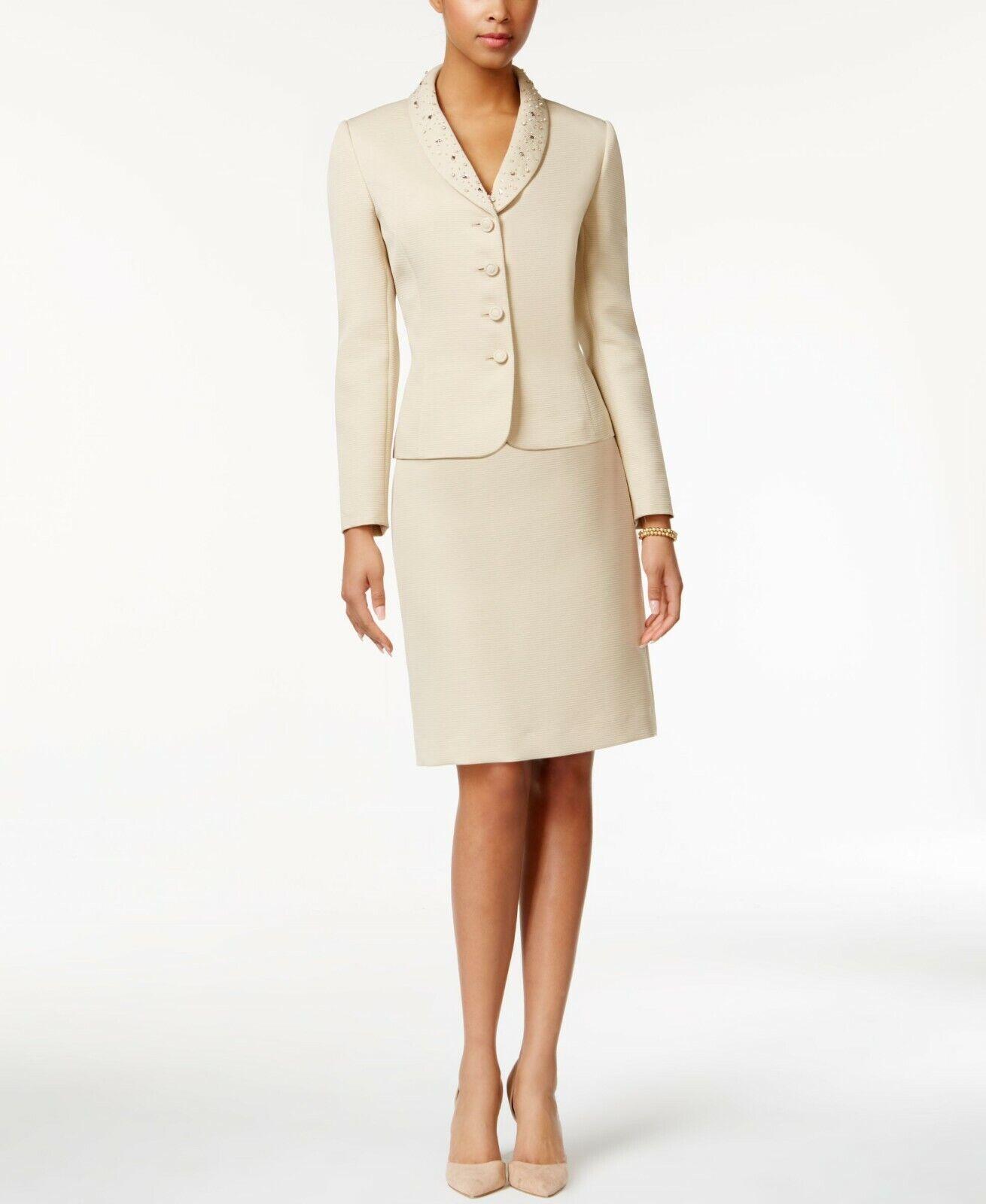 NWT Tahari ASL Bead - Trim Texturöd kjol Suit, Storlek 10P