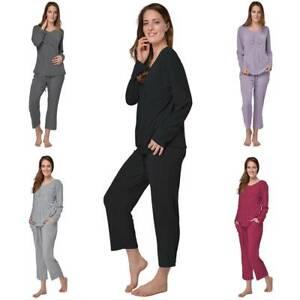 newest collection 6c715 d93cd Details zu Damen Schlafanzug V-Ausschnitt Pyjama Langarm Jersey Hausanzug  Freizeitanzug