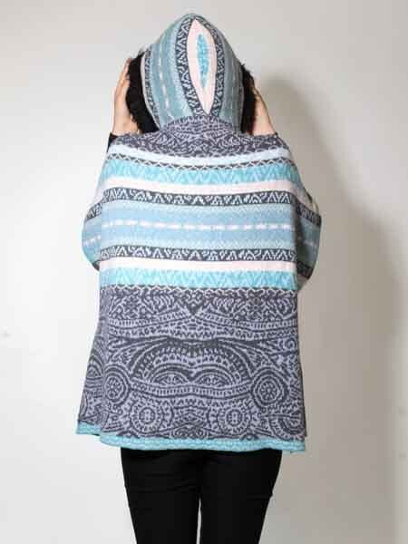 40% Poncho Cape Knitted Size 36 36 36 38 40 42 Cardigan Kooi Wool Grey Mint 8ed21a